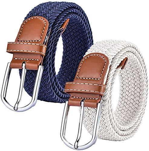 Chalier 2 Pack Damen Elastischer Stoffgürtel Geflochtener Stretchgürtel Dehnbarer Gürtel, Navy & White, Einheitsgröße