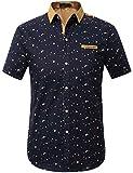 SSLR Men's Printed Button Down Casual Short Sleeve Cotton Shirts (Large, Black)