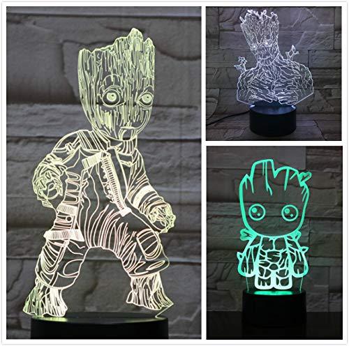 Marvel Hollywood movie Superhero Super Heroe Tree Man Groot Figure Neon Night Light 3D LED USB Lámpara de mesa niños regalo de cumpleaños decoración de la habitación junto a la cama