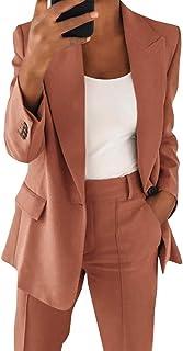 Women's Casual Blazer Long Sleeve Open Front Work Office...