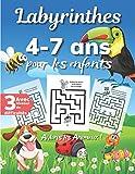 Labyrinthes Pour Les Enfants 4 à 7 ans, Aidons les Animaux: Livre Grand Format pour Filles et Garçons dès 4 ans, Jeu de Concentration avec 3 Niveaux ... de la Jungle, 60 puzzles Solutions Incluses