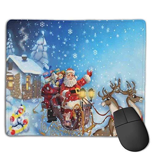 NA Santa im Schlitten mit Rentier und Spielzeug im verschneiten Nordpol Tale Fantasy Image Strukturiertes Mauspad, rutschfestes Mauspad auf Gummibasis f眉r Laptops, Computer und PCs