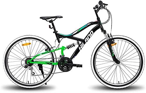 Hiland 26 Zoll Mountainbike 18 Gang Jugend MTB Fahrrad mit Federgabel Urban Commuter City Fahrrad Schwarz