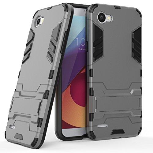Funda para LG Q6 / Q6 Plus (5,5 Pulgadas) 2 en 1 Híbrida Rugged Armor Case Choque Absorción Protección Dual Layer Bumper Carcasa con Pata de Cabra (Gris)