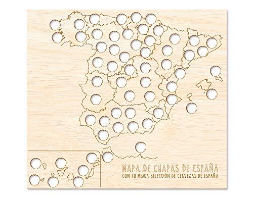 Regalo Original Mapa Madera chapas Cerveza España