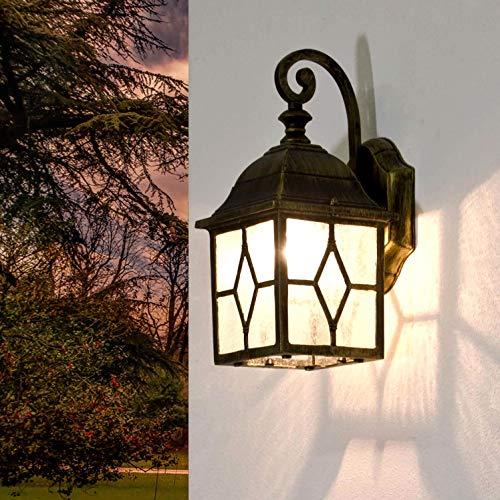 *Rustikale Wandleuchte in antikgold inkl. 1x 12W E27 LED Wandlampe aus Aluminium für Garten Terrasse Weg Lampe Leuchten Beleuchtung*