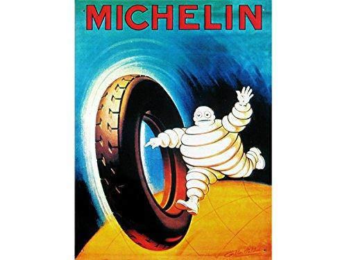 FRENCH VINTAGE METAAL SIGN 40x30cm reclame retro bibendum michelin band gemaakt in Frankrijk