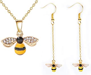 AILUOR Crystal Bumblebee Pendant Necklace, Cute Yellow Enamel Bee Drop Earrings Lovely Honey-Bee Animal Earrings Necklace ...
