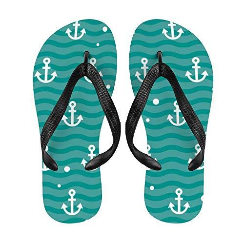 Anchor Flip-Flop Strand Sommer Hausschuhe Custom Haus Schuhe Sandalen für Damen Herren Nautische Retro Streifen Ruder, Weiß - Nauti18 - Größe: X-Large