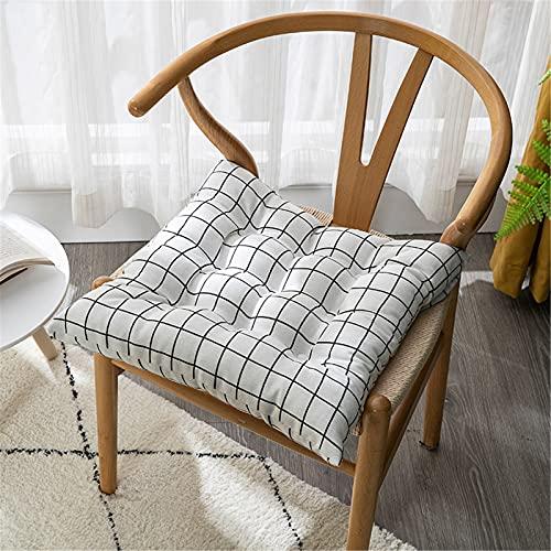 Chickwin Cojines para Silla con Correas de Sujeción, Estampado Pack 2 Cojín Decorativo de Asiento Cojines Acolchados de sillas para Terraza Jardín Sala Balcón (Plaid Blancos,40x40cm)