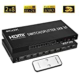 Merkmak HDMI Splitter Full HD 4K Video HDMI Switcher 2x8 Split 2 in 8 Out Dual Display for DVD PS3 Xbox With Power