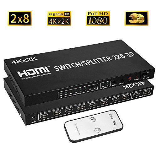 Merkmak HDMI Splitter Full HD 4K Video HDMI Switcher 2x8 Split 2 in 8 Out Dual Display for DVD PS3 Xbox With Power (Type 1) (2x8) (2x8) New Mexico
