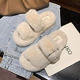 XZDNYDHGX Pantuflas Interior Caliente Slippers,Zapatillas mullidas Diapositivas de Piel sintética, Chanclas de Invierno para Mujer, Sandalias cómodas para Dormitorio, apartamento, hogar, Beige, UE 38