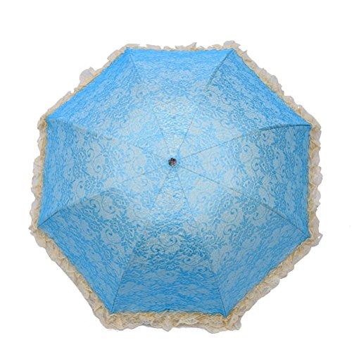 MoGist - Ombrellone da Donna in Pizzo con Protezione UV e Tripla Piega (Blu, Verde, Viola, Giallo, Rosa)