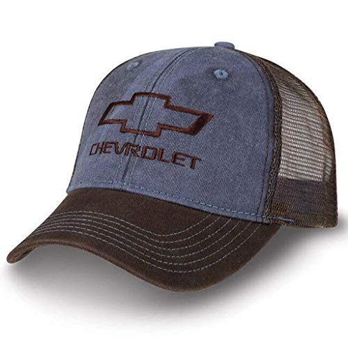 Chevy Truck Washed Twill/Mesh Cap Blue/Washed New Chevrolet Bowtie Hat