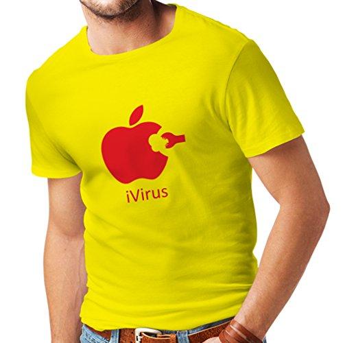 lepni.me Camisetas Hombre iVirus - Regalo Divertido del Amante de la Nueva tecnología (X-Large Amarillo Rojo)