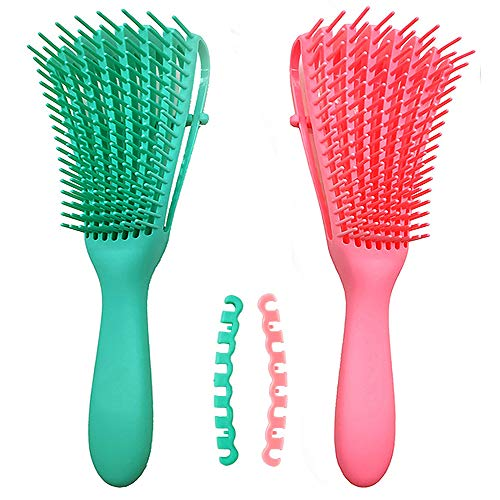 Sunwuun Cepillo desenredante, 2Pack Detangler Brush, cepillo desenredante para cabello natural negro, cepillo para el cabello