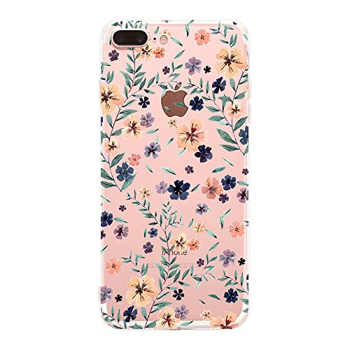 Caler Compatibile con iPhone 8 Plus iPhone 7 Plus Custodia Case Trasparente Morbida TPU [Ultra Leggere e Chiaro] Silicone Ultra Sottile Case (Fiore 2)