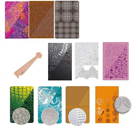 10 Stück Texturplatten für Fimo und Handarbeiten + 1 Lineal Lesezeichen aus Holz