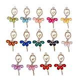PandaHall Elite - 14 Colgantes de Bailarina de Cristal con Incrustaciones de Diamantes de imitación de Resina para Adolescentes, para Mujer, Bricolaje, Pulseras, Collares y Joyas