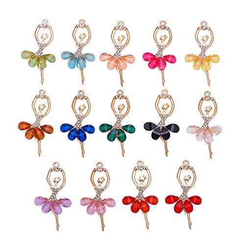 PandaHall 14pcs 14 Colori Charms Ballerina in Lega intarsiato con Strass Ballerino Ciondolo in Resina Pendenti Grandi per Artigianato creazione di Gioielli