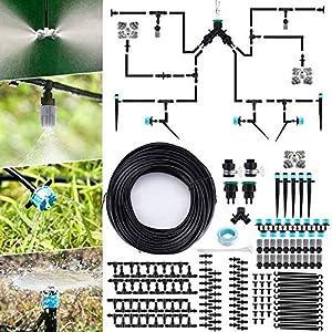 Jeteven 40M Sistema de Riego de Jardín, 189Pcs Kit Riego Goteo, Sistema de Riego Automatico por Goteo, para Jardines…