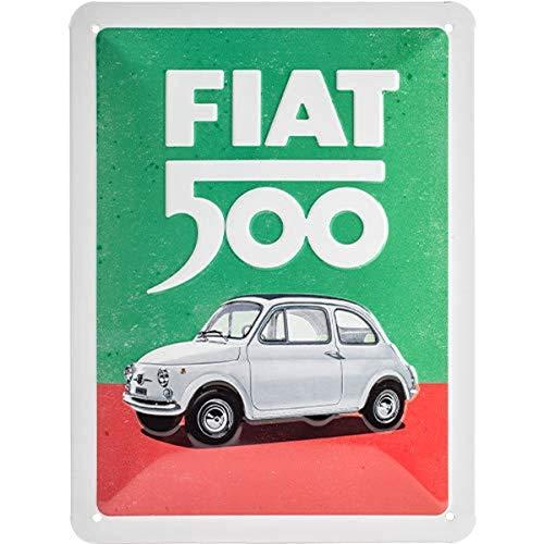 Nostalgic-Art 26254 Retro Blechschild Fiat 500 – Italian Colours – Geschenk-Idee für Auto Fans, aus Metall, Vintage-Design zur Dekoration