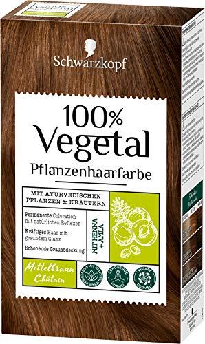 SCHWARZKOPF 100% VEGETAL Coloration Mittelbraun Stufe 3, 3er Pack (3 x 80 ml)