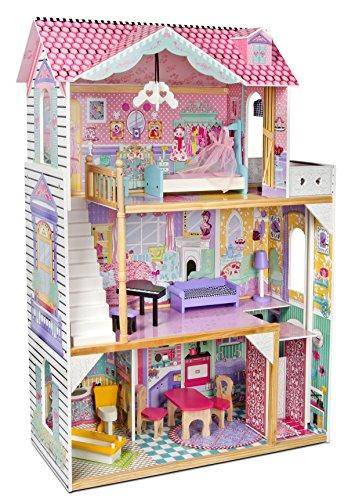 Leomark Doll Aparthouse Holz Puppenhaus mit Aufzug - Farbe Rosa - Traumvilla mit mit Terrasse, 14 Zubehör, 3 Etagen, 5 Zimme, für Kinder, Höhe: 121 cm