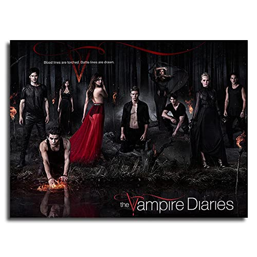 Famous Paintings The Vampire Diaries TV Show Cast Ian Somerhalder Paul Wesley Nina Dobrev Kat Graham Candice Accola Zach Roerig Posters Wall Art For Office Room Decor 16x12inch