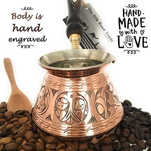 The Silk Road Trade - ACI Series (Medium) - Thickest Solid Engraved Copper Turkish Greek Arabic Coffee Pot with Wooden Handle/Stovetop Coffee Maker, Jazzve, Cezve, Ibrik, Briki, Café Turco(13 fl oz)