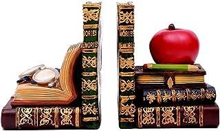 Book End كتاب الكتب العتيقة يشبه الكتب الكلاسيكية مكتبة الكتب ينتهي سدادات كتاب الراتنج الكتب مع النظارات وزخرفية أبل JH