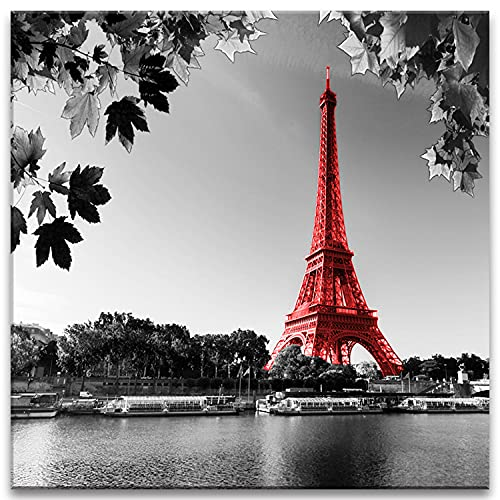 Red Eiffel Tower Decor Paris Canvas Wall Art for Bedroom Black and White France Prints Poster 12x12' Maple Lake Landscape Picture Modern Living Room Home Decorations Framed Paintings Ready to Hang
