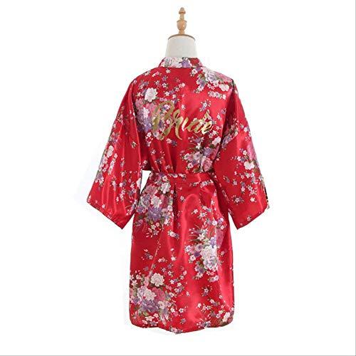 XFLOWR Dames Zijde Zomer Kersenbloesem Bronzen Poeder Bruiloft Bruid Zijde Satijn Slaapmode Korte Kimono Bruidsjurk Jurk Nachtkleding