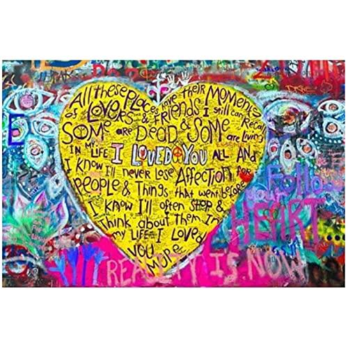 JLFDHR Imagen De Corazones Graffiti Street Print I Love You Art Canvas Paintingposter Arte De La Pared En La Sala De Estar Decoración para El Hogar-60X90Cmx1 Sin Marco