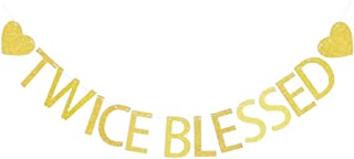 Twice Blessed with Gold Heart Banner, Twins Baby Shower Party Sign Decors,Party Photo Props