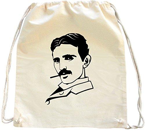 Mister Merchandise Turnbeutel Natur Rucksack Nikola Tesla, Farbe: Natur