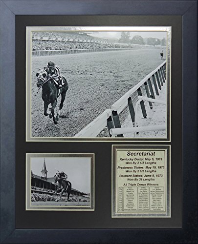 Legends Never Die Secretariat 1973 Triple Crown Winner Collectible | Framed Photo Collage Wall Art Decor - 12'x15'