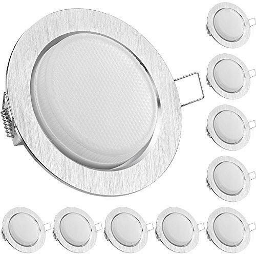10er LED Einbauleuchten Set extra flach in Aluminium gebürstet mit LED GX53 Markenlampe von LEDANDO - 5,5W - warmweiss - 120° Abstrahlwinkel - 35W Ersatz - geringe Einbautiefe - LED Spot 5,5 Watt - Einbauleuchte LED Spot