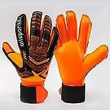 WSSMY Torwarthandschuhe für Jugendliche und Erwachsene mit starkem Griff und Fingerdornenschutz Orangefarbene Gummi-Leder-Fußballtorwarthandschuhe für Männer und Frauen, Training und Wettkampf