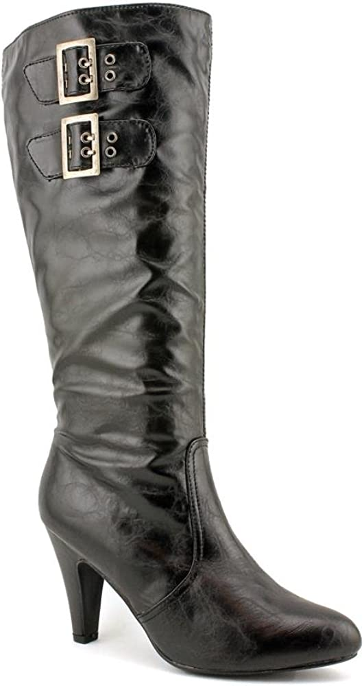 Madden Girl Dariah Womens Size 7.5 Black Faux Leather Fashion Knee-High Boots