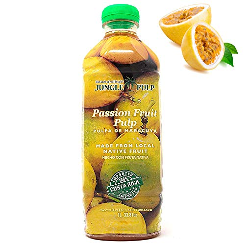 Jungle Pulp Passion Fruit Puree Mix , from Costa Rica for Iced Drinks, Margaritas, Cocktails, Tea, Real Desserts and Baking, Better than Syrup.