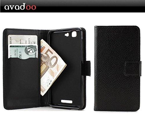 avadoo® Mobistel Cynus F9 Flip Case Cover Tasche Buch in Schwarz vernäht mit 2x Kartenschacht und Magnetverschluss als Cover Tasche Hülle
