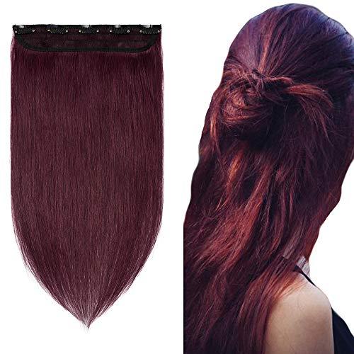 Extension a Clip Cheveux Naturel Monobande - Rajout Cheveux Humain Lisse Volume Fin (#99J Vin rouge, 35 cm (45 g))