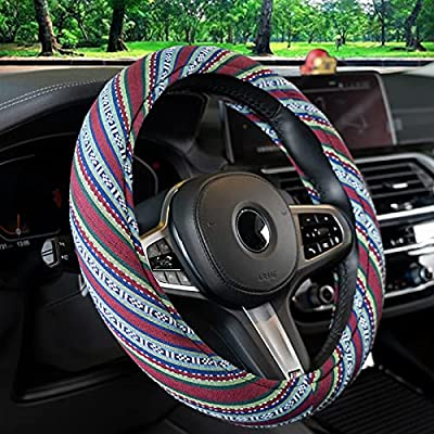 15inch Baja Blanket Universal Steering Wheel Cover for Women, Memory Foam Cloth Steering Wheel Cover Boho with Ethnic Style Coarse Flax Cloth,Hippie Car Accessories.Sky-Green
