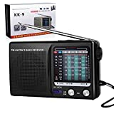 Portable Radio AM/FM, 2AA Battery Powered with Long Range Reception for Indoor, Outdoor and Emergency Use Radio with Speaker and Headphone Jack (Black)