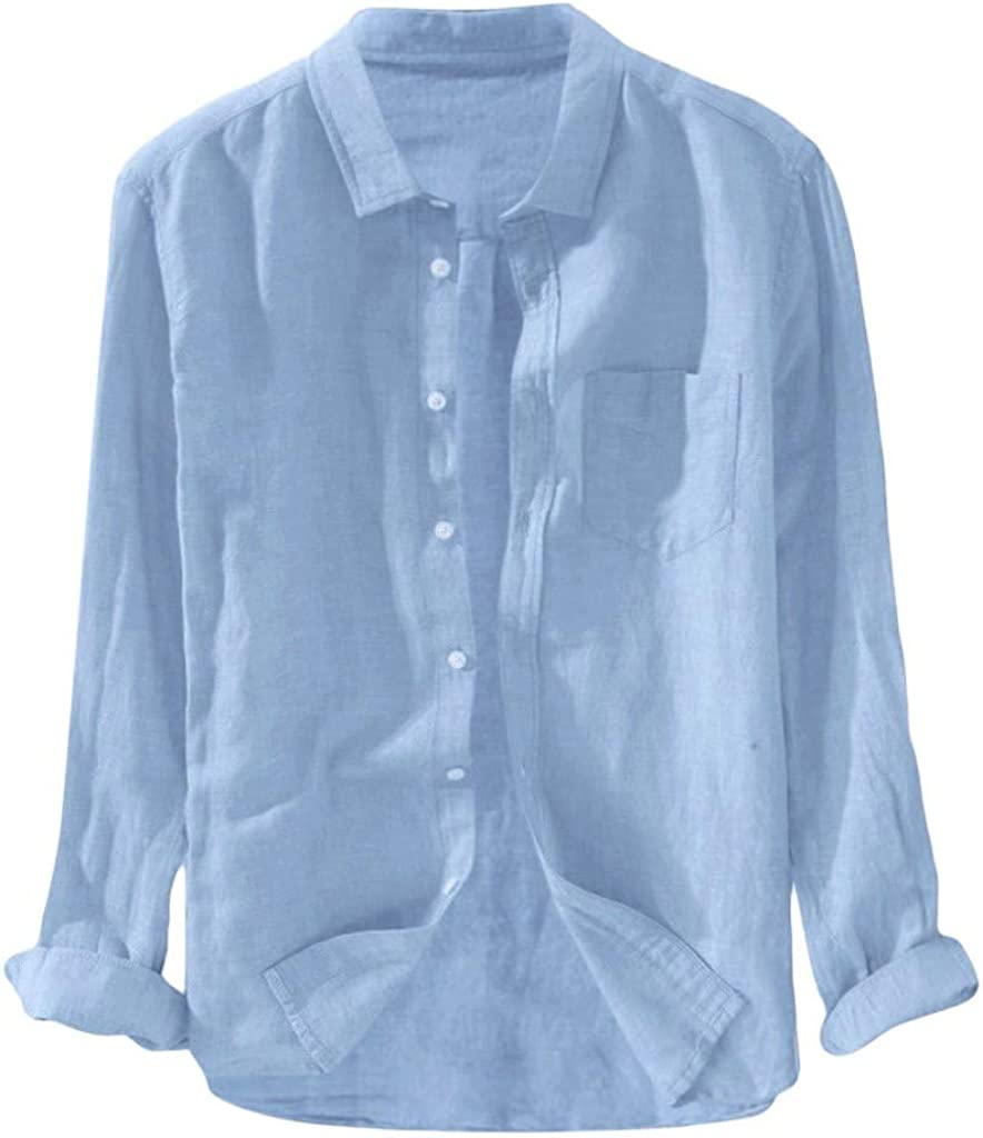Mens Shirts Fashion Classic Button Down Shirt with Pocket Casual Baggy Turn-Down Tops T-Shirt Tees Blouse Henley