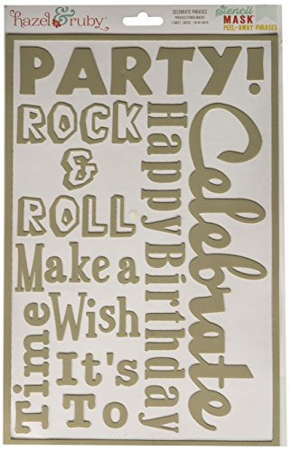 Hazel & Ruby HRSM336 Peel Away Words Stencil Mask Sheet, 12 by 8-Inch, Celebrate