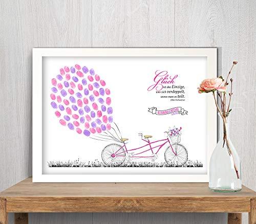 Tandem Fahrrad Wedding-Tree Leinwand, Fingerabdruck-bild Luftballone, Gästebuch für Hochzeit