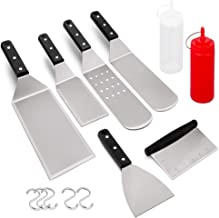 HaSteeL Metal Spatula Set of 8, Griddle Accessories Stainless Steel Grill Spatula Kit, Great for BBQ Teppankiya Flat Top Hibachi Camping, Riveted Plastic & Heat Resistant Handle - Dishwasher Safe